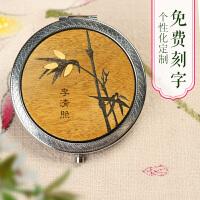 折叠小镜子便携随身化妆公主镜 金丝楠 楠木可爱个性创意定制logo