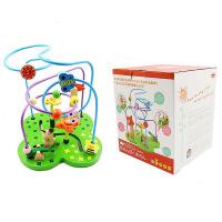 木制森林玩具大号花朵绕珠串珠儿童认知益智场景玩具