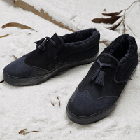 2017新款男士冬季雪地靴休闲保暖英伦风加厚豆豆鞋棉鞋男靴子二棉
