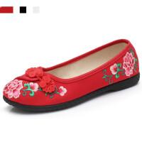 老北京布鞋女民族风绣花鞋平底一脚蹬休闲鞋中老年软底舒适妈妈鞋 35 中国码225