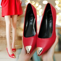 新款白色高跟鞋细跟女鞋春秋尖头单鞋女红色婚鞋黑色工作皮鞋子女