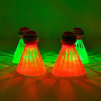 4只装荧光耐打塑料尼龙LED夜光带灯发光发亮打不烂羽毛球夜用