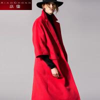 小虫 新款秋装长款大衣加厚风衣双排扣长款外套毛呢外套女