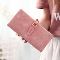 女士长款钱包新款简约小清新韩版潮搭扣学生薄款个性钱夹 粉红色 长款