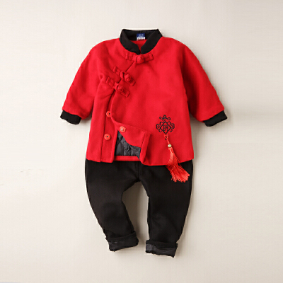 儿童唐装冬女宝宝周岁礼服男过年衣服喜庆红色女童中国风套装