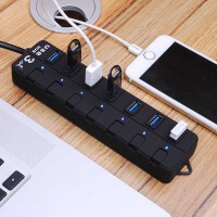 御目 插线板 高速usb分线器3.0一拖四笔记本hub扩展集线器多口7独立开关带电源满额减限时抢礼品插头