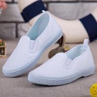 儿童白布鞋男童懒人鞋女童一脚蹬休闲小白鞋白色帆布鞋