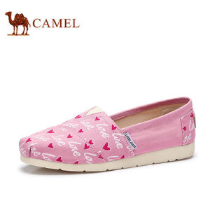 骆驼牌女鞋 2017春季新品涂鸦布鞋女平跟休闲平底单鞋帆布鞋玛丽鞋