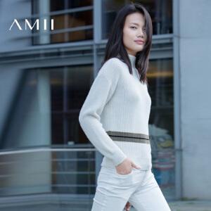 【品牌团 1件7折/2件5折】AMII[极简主义]冬简洁微高领落肩袖撞色条纹毛衣女11671819