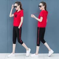 休闲运动服套装女夏天2019韩版宽松短袖七分裤两件套 M 【85-98斤】