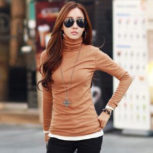 2017春韩版新品修身女士上衣大码修身纯棉高领长袖t恤女装打底衫