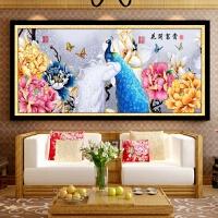新款客厅装饰画古典大幅花开富贵孔雀牡丹十字绣钻石画满钻粘贴画