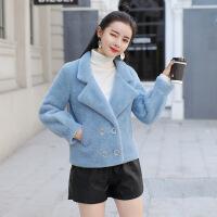 毛衣外套女韩版2018新款女装秋季中长款毛针织衫秋冬开衫长袖秋装 蓝色 S