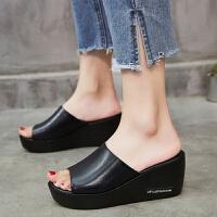 【真牛皮】凉拖鞋女夏时尚外穿高跟一字拖坡跟防滑厚底女士凉鞋