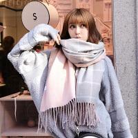 格子围巾女冬季韩版百搭长款加厚保暖学生仿羊绒围脖披肩两用冬天