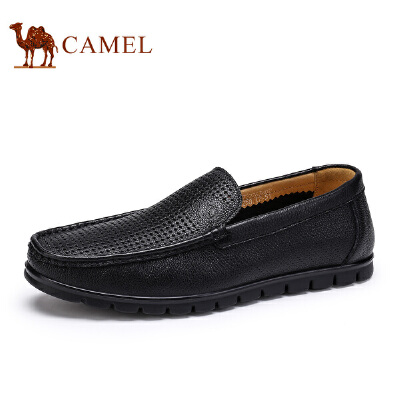 骆驼牌男鞋 新品透气舒适男皮鞋镂空低帮休闲鞋豆豆鞋