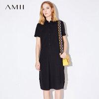【AMII 超级品牌日】Amii[极简主义]2017夏装新款大码衬衫翻领半襟开衩连衣裙11732751
