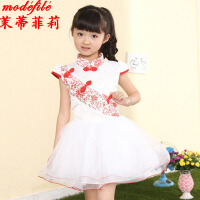 茉蒂菲莉 女童连衣裙 韩版儿童青花瓷童裙夏装蕾丝唐装新款夏季中小学生童装公主裙子