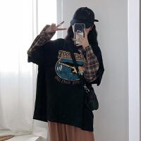 2019早春t恤女新款韩版宽松假两件打底衫长袖网红同款上衣学生潮