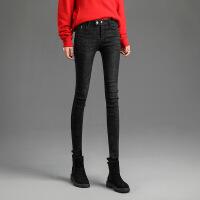 高腰牛仔裤女秋冬2018新款韩版网红同款显瘦复古黑色紧身小脚裤子