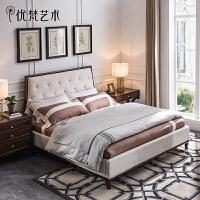 优梵艺术 Carpa美式布艺床小户型简约实木双人大床婚床主卧室家具