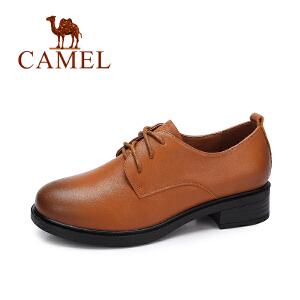 camel/骆驼女鞋 秋季新款 英伦简约复古单鞋女浅口系带百搭女皮鞋