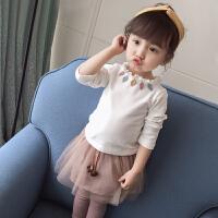 秋冬装女童打底衫儿童长袖白色保暖上衣婴儿女宝宝t恤