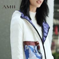 【双十一特价福利款】AMII[极简主义]冬90绒两面穿白鹅绒短款轻薄羽绒服女装大码