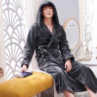 睡袍男士秋冬季加厚加绒保暖珊瑚绒睡衣加长款法兰绒浴袍冬天浴衣 灰色 M