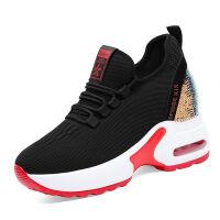 秋季透气运动鞋女内增高袜子鞋女老爹鞋女鞋子女1825 红色1825-2 内增高