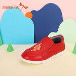 【99元2件】红蜻蜓童鞋春秋新款闪电图案低跟套脚舒适百搭男女童儿童休闲鞋