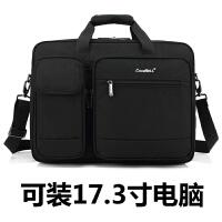 大容量多功能15.6 17.3寸笔记本电脑包斜挎包手提单肩包商务包 男 黑色 可装17.3寸电脑
