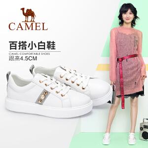 camel骆驼女鞋2018春新款小白鞋女时尚简约系带休闲鞋韩版学生单鞋