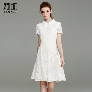 颜域品牌女装2017夏季新款蕾丝雕花短袖娃娃领连衣裙A摆收腰长裙