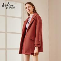 伊芙丽冬装中长款羊毛大衣宽松西装领长袖毛呢外套女