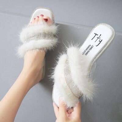 拖鞋女外穿夏季韩版平底毛毛拖鞋女时尚一字拖女凉拖鞋女2019新款