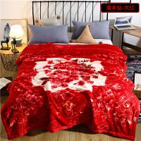 毛毯被子加厚冬季拉舍尔盖毯珊瑚绒双层结婚庆大红单双人毛毯床单