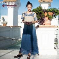 生活在左2019春夏季新品女装蓝色纯棉拼蚕桑丝连衣裙气质复古裙子