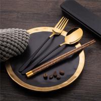 筷子勺子套装 学生叉子便携带上班族收纳盒单人 一人食餐具三件套