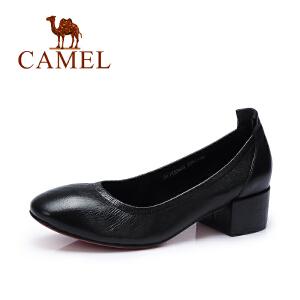 Camel/骆驼女鞋 春季新款 纯色时尚单鞋 浅口粗跟气质春鞋