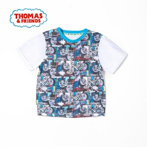 【满100减50】托马斯童装正版授权男童夏装时尚圆领纯棉印花短袖T恤