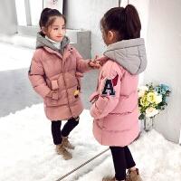 女童女孩中长款童装冬装假两件儿童棉袄