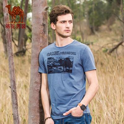 骆驼男装 夏季新款时尚印花圆领纯棉休闲短袖T恤衫男上衣