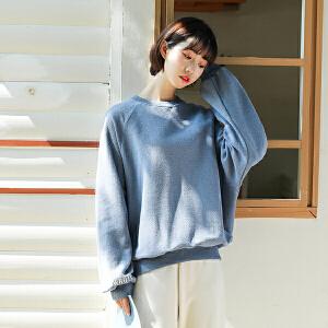 新款卫衣女韩版套头绒衫圆领纯色学生bf原宿长袖上衣