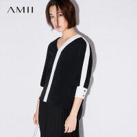 Amii极简小清新韩版街头V领女2018秋新款宽松撞色T恤女七分袖上衣