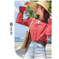 纯棉衬衫女长袖2019春装新款棉立方时尚洋气系带潮设计感小众衬衣