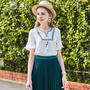 香影荷叶袖雪纺衫女 2017夏装新款时尚小v领流苏系带上衣短袖韩版