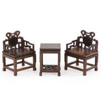 明清微缩家具模型鸡翅木太师椅微型小家具模型红木雕刻工艺品摆件