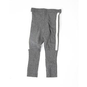 女童冬季条纹撞色针织裤保暖灰色毛织裤