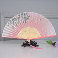 真丝女折扇漆边工艺日式扇 小礼品中国风淑女扇舞蹈扇子